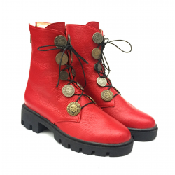 """Red """"Minimal"""" leather boots"""