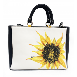 Painted leather bag - poppies