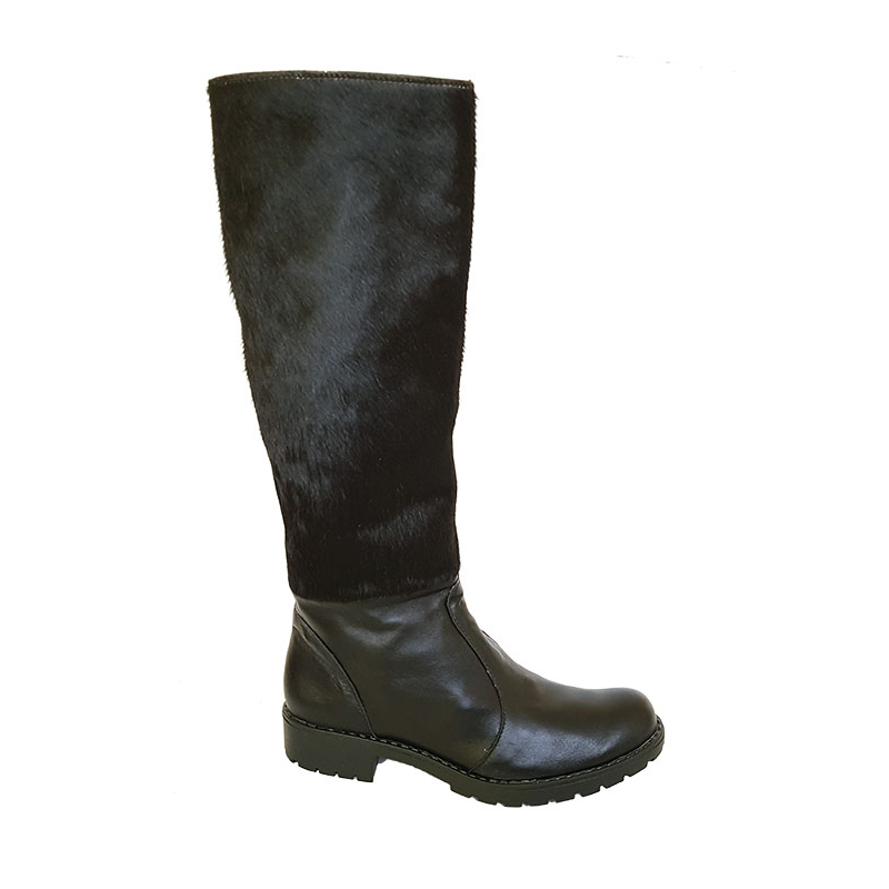 """pony Black"" leather boots"