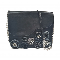 Black leather bag with flowers