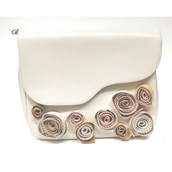 Cream leather bag with flowers