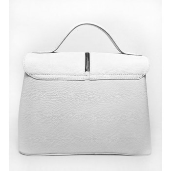 White leather bag with zipper