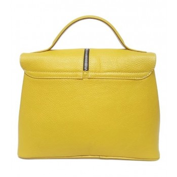 Yellow leather bag with zipper